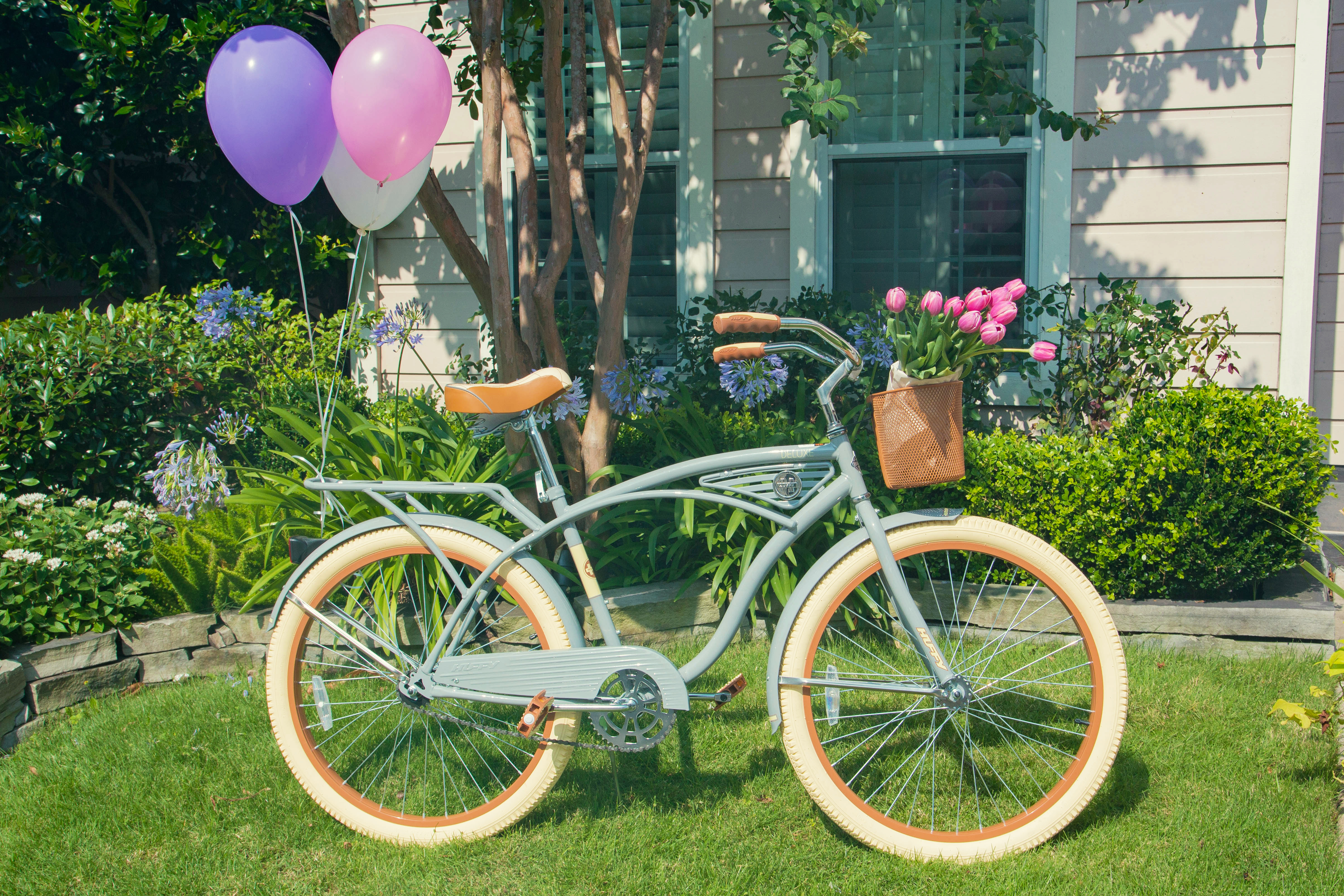 Tiny Intern Turns Two Bike Themed Girls Cruiser and Tulips Front Decor Personal Stylist Houston
