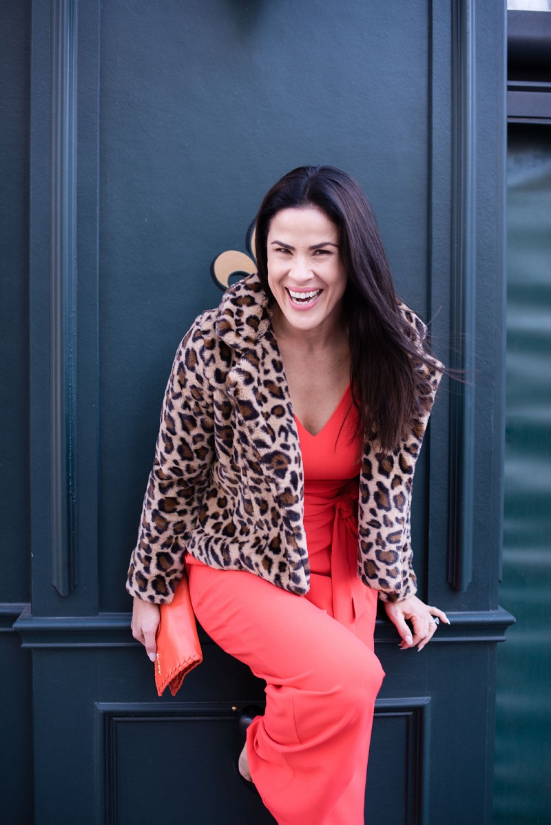 How to wear living coral Houston Image Consultant Natalie Weakly Coral Jumpsuit and Leopard