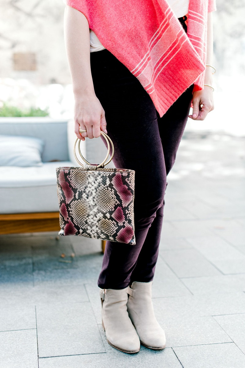 How to wear living coral Houston Image Consultant Natalie Weakly Coral and Plum and Snakeskin