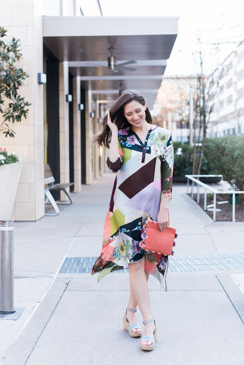 How to wear living coral Houston Image Consultant Natalie Weakly Patchwork Coral Johnny Was Dress